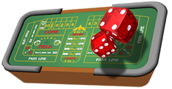 Craps table and dice